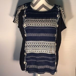 J. Crew Navy and White Embroidered Tee Size M